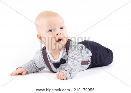 Serious Cute Little Boy In Strong Costume