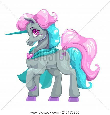 Beautiful cartoon unicorn with colorful hair and mantle. Fantasy animal icon. Isolated vector girlish illustration.