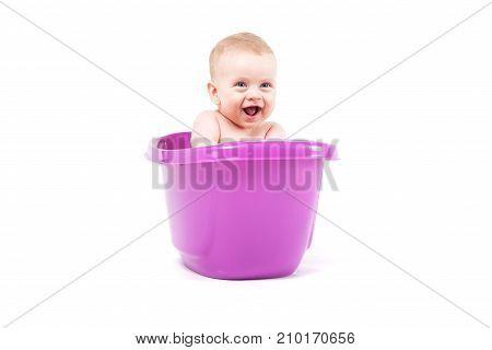 Cute Baby Boy Take Bath In Purple Tub