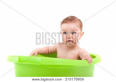 Cute Little Baby Boy Take Bath In Green Tub