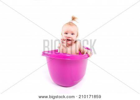 Cute Happy Baby Girl Take Bath In Tub