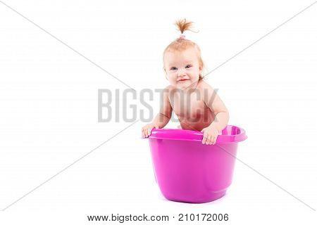 Pretty Cute Baby Girl Take Bath In Tub