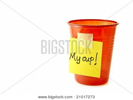 Red party cup with a sign