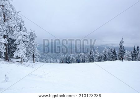winter mountain landscape with skiing slope-extreme sports