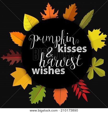Pumpkin kisses and harwest wishes. Card and poster design. Hand Lettered Quote. Modern Calligraphy. Thanksgiving phrase