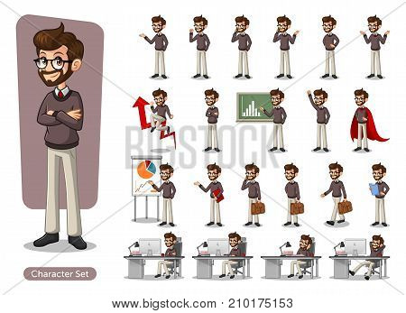 Set of hipster businessman cartoon character design with different poses, include with carrying messenger bag, isolated against white background.