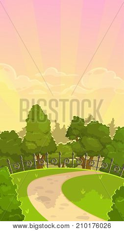 Beautiful cartoon morning park landscape. Vector nature background for game design. Vertical orientation for mobile phone screen.