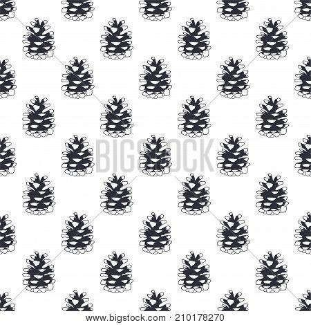 Vintage hand drawn pine cone pattern design. Pinecone seamless wallpaper. Monochrome retro design. illustration. Use for fabric printing, web projects, t-shirts