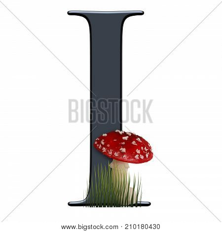 3D render of alphabet capital letter I embellished with red toad poster