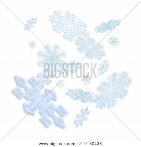 Illustration of randomly flying snowflakes. Christmas, New Year, winter. Holiday concept. Design element for greeting cards, banners, posters, leaflets and brochures.