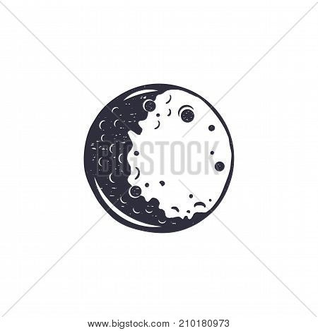 Vintage hand drawn moon symbol. Silhouette monochrome moon icon. Stock vector illustration isolated on white background. Retro design.