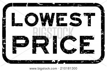 Grunge black lowest price square rubber seal stamp on white background