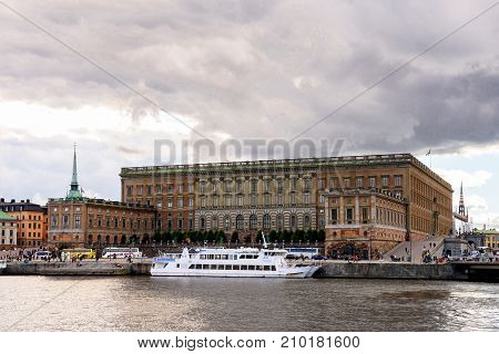 STOCKHOLM SWEDEN - SEP 13 2016: Arhitecture of the centre of Stockholm Sweden. Stockholm is the most populous city in Scandinavia