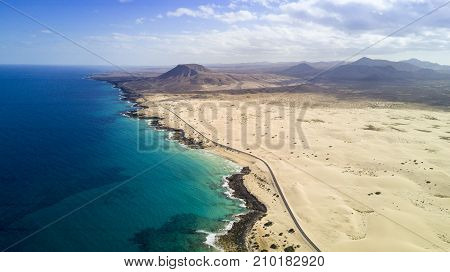 aerial view of road, desert, coast, fuerteventura, canary islands