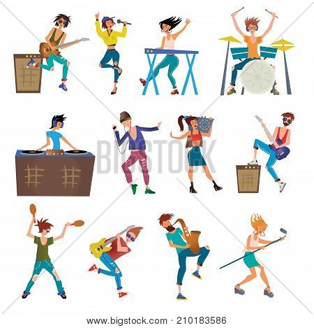 Musicians Cartoon Vector Characters Playing Musical Instruments. Drummer, Keyboardist, Singers, DJ, Dancer and Other. Illustration, Isolated on White Background.