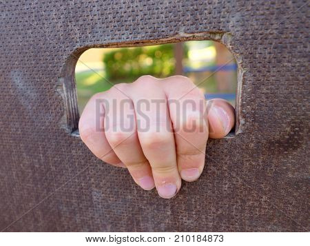 Children Hand Holds A Hole On The Wooden Climbing Wall. Short Fingers Hold Through Ladder