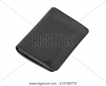 Black leather wallet. Isolated on a white background.
