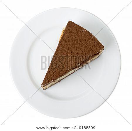 Delicious tiramisu cake. Isolated on a white background.