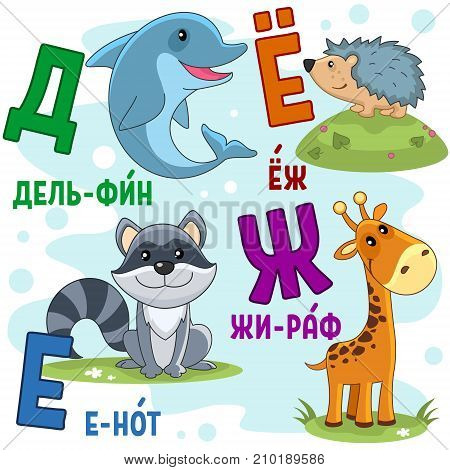 Cartoon Russian alphabet for children with letters and pictures of raccoon, dolphin, giraffe and hedgehog.
