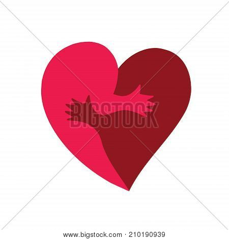 Vector heart shape of two halves hug. Illustration of template for Valentine's day
