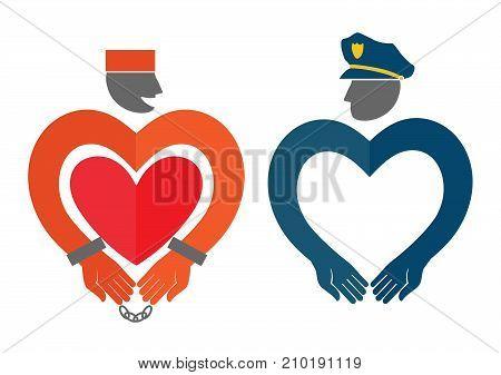 Vector badges of a prisoner and a police officer. People diversity. A symbol of love nice illustration for Valentine's day.