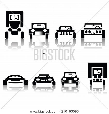 illustration with set of cars isolated on white background