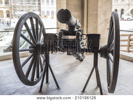Paris; France- May 02; 2017:Canon a Balles- mitrailleuse is a type of volley gun with multiple barrels of rifle calibre that can fire either multiple rounds at once or several rounds in rapid succession1866.Museum of the Army