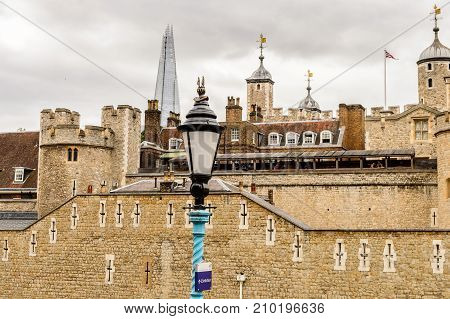 LONDON ENGLAND - JUL 20 2016: Tower of London (Her Majesty's Royal Palace and Fortress of the Tower of London) England. UNESCO World Heritage