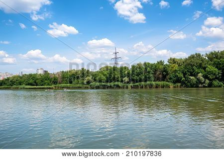 Picturesque view of the city of Rostov-on-Don from the left bank of the Don River