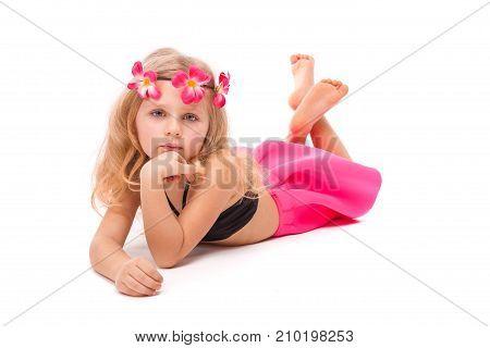 Cute Pretty Little Girl In Black Bikini, Pink Skirt And Pink Wreath, Lies