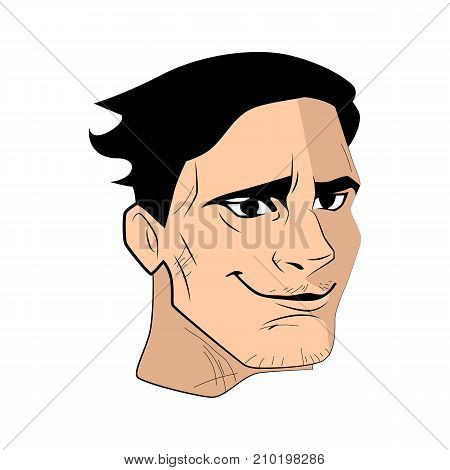 The young rude man face vector illustration.