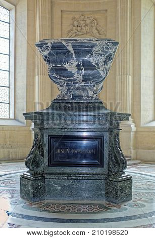 Paris; France- May 02; 2017: The sarcophagus of Joseph Bonaparte in the Cathedral of St. Louis of the Invalides. Joseph Bonaparte was the elder brother of Napoleon I of France. He was King of NaplesSicily and Spain.