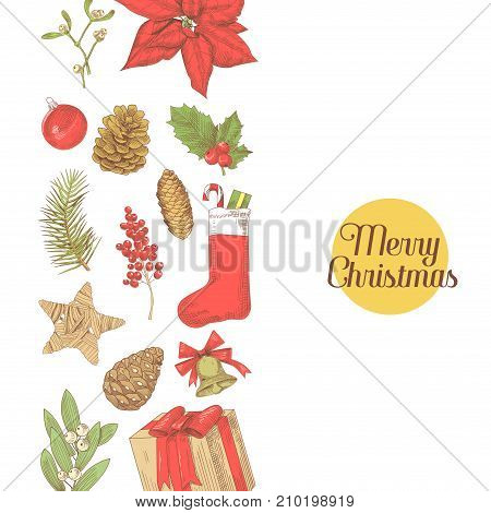 Merry Christmas Vintage Greeting Card. New Year Hand Drawn Decoration. Winter Holidays Sketch Background. Vector illustration