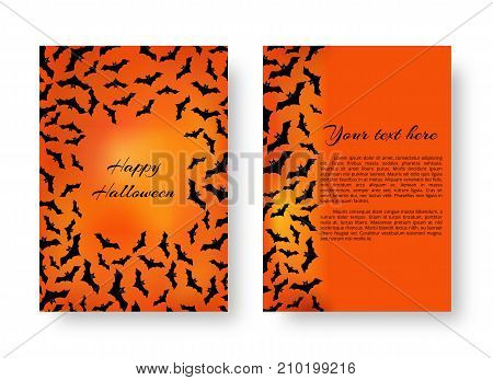 A terrible pattern of flyers with bats for festive decoration for Halloween on the orange backdrop. Vector illustration.