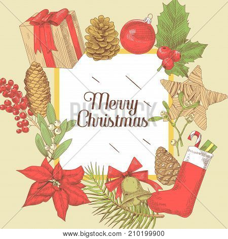 Merry Christmas Vintage Greeting Card. New Year Hand Drawn Decoration. Winter Holidays Background. Vector illustration