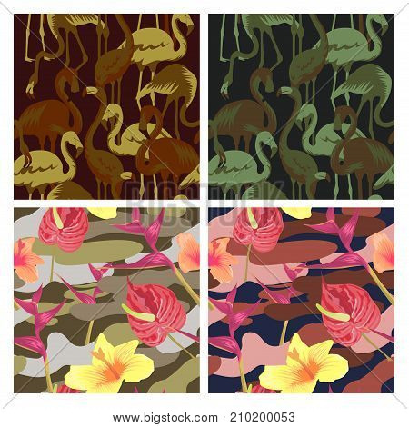 Military Seamless Pattern Set with Tropical Birds Flamingo and Flowers. Camouflage Background. Camo Fashion Texture. Army Uniform. Vector illustration