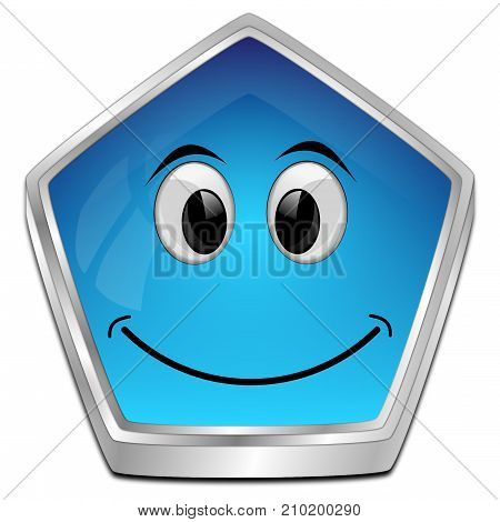 blue button with smiling face - 3D illustration