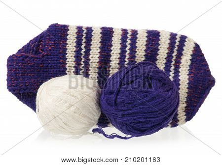 Warm knitted socks with threads isolated over white background