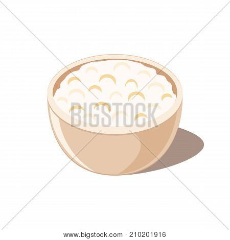 Cottage cheese in ceramic bowl. Isolated on white background. Vector illustration flat design