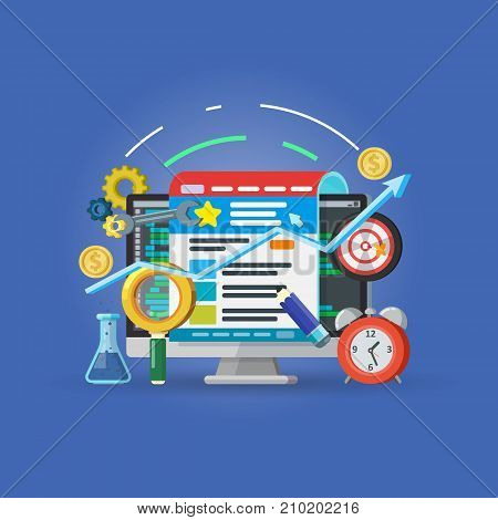 Targeting audience through advertising, branding, and digital media marketing concept. Setting up and analytics of advertising on the Internet. Raster image