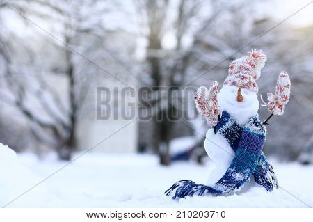 Christmas snowman in Scarf hat and mittens on the background of snowy landscape / warming smile for the winter holidays
