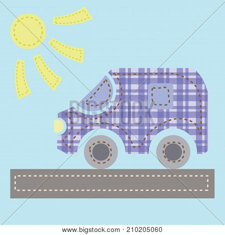 colorful illustration with old car on blue background