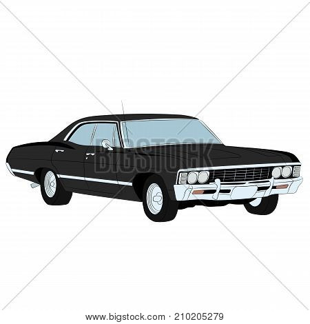 Retro gangster car. Police retro car. Classic automobile. Retro auto. Vintage.