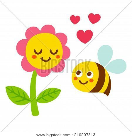 Cute cartoon bee and flower in love with smiling faces and hearts. Adorable Valentines day greeting card vector illustration.