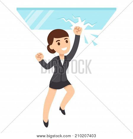 Cartoon business woman breaking glass ceiling. Sexism issues in corporate culture. Flat vector style illustration.