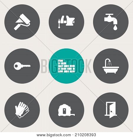 Collection Of Paint Roller, Gauntlet, Faucet And Other Elements.  Set Of 9 Construction Icons Set.