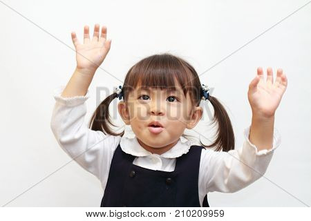 Japanese Girl Raising Her Hand In Formal Wear (2 Years Old)