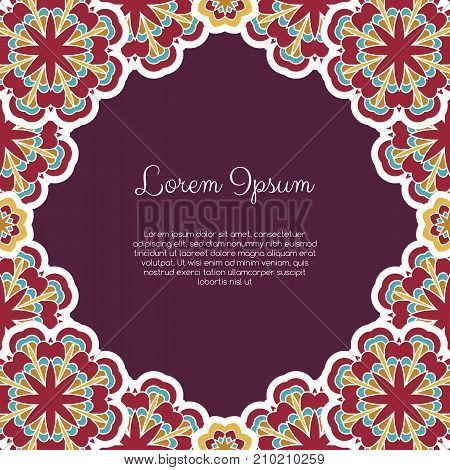 Invitation or greeting card template with abstract ornament. Hand drawn vector illustration