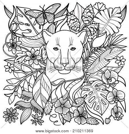 Jungle pattern with panther, flowers and leaves. Outline coloring page, textile print, exotic squared composition.