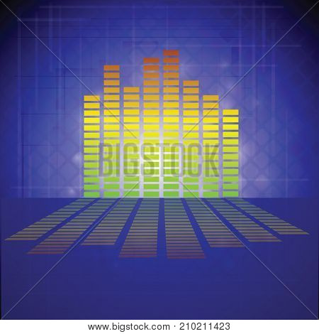 colorful illustration with modern equalizer icon on blue background